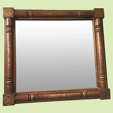 SIGNED c.1970 Hitchcock Mirror Solid Maple Wood Frame - - Gold Stenciled - - Wall Mirror 13 lbs.