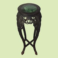 """MUST SEE -- 36"""" Tall - Late 1800's Hand Craved Rosewood Table Hardwood - Plant Stand - Pedestal - End Table - Occasional Table - Polished Green Marble"""