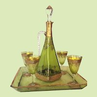 c.1900 Bohemian Moser Decanter Ewer w/ Four Glasses Tray Enameled Gold Cut Glass RARE Green Liquor Set w/ Tray