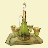 c.1900 Bohemian Moser Decanter Ewer w/ Four Glasses and Tray Cut Glass Green Enameled -- Gold -- RARE Liquor Set w/ Tray