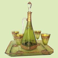 c.1900 Bohemian Moser Decanter Ewer w/ Four Glasses Tray Enameled Gold Cut Glass RARE Green Liquor Set w/ Tray