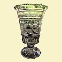 "RARE c.1825 Bakewell Co. Pittsburg  PA. Cut Glass Vase / Celery - - 8"" x   5 1/4""  Peacock Feathers  EXCEPTIONAL"