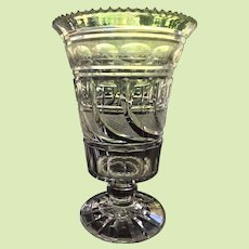"""RARE c.1825 Bakewell Co. Pittsburg  PA. Cut Glass Vase / Celery - - 8"""" x   5 1/4""""  Peacock Feathers  EXCEPTIONAL"""