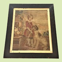 "ENGLAND -- Victorian -- circa 1860-80's Sampler / Needlepoint 23"" x  19"" Little Girl and Dog Original Frame / Glass"