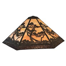 "Slag Glass Panel Lamp Shade Vintage  22""x 9 1/2"" GORGEOUS Eight Panels"