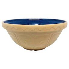 "RARE Blue Mason Cash Bowl -- 12"" x 6"" -- c.1950's Yellow Ware -- Mixing Bowl Made in England Yellowware"
