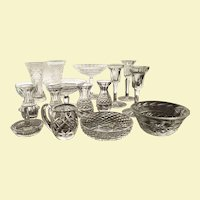 16 PIECES Waterford MUST SEE Cut Crystal Compote Vase Candlesticks Creamer Bowl - Ring Holder Bud Vase - Think Holidays