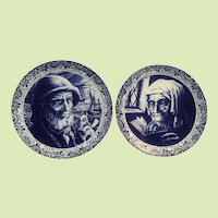 "PAIR 11 1/2"" Boch Delft Charger / Platter Fisherman - Old Woman  Husband and Wife - Belgium Boch and Freres"