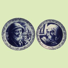 """PAIR 11 1/2"""" Boch Delft Charger / Platter Fisherman - Old Woman  Husband and Wife - Belgium Boch and Freres"""