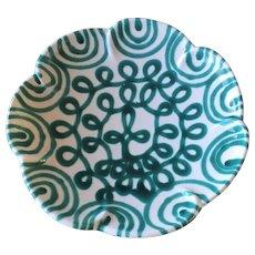 """Vintage 1960's Austrian Gmundner Keramik - Green Flamed Pattern  11""""x2 1/2"""" Round Scalloped Rim  - - Serving Plate / Serving Bowl"""