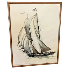 RARE James A. Mitchell LIMITED EDITION 9/70 Lithograph Schooner c.1890's Watercolor and Ink