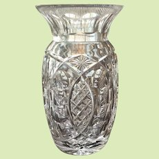 """PRICED TO SELL c.1890's Cut Glass Vase Victorian Bullseye Pattern 8 1/2"""" 4 1/2 lbs Excellent Condition MUST SEE Brilliant Clear Color"""