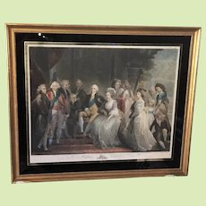 """EXTREMELY RARE c.1794 Mezzotint Hand Colored King George III and the Royal Family  -- Framed  -- 27"""" x  22""""  by John Murphy London England United Kingdom British"""