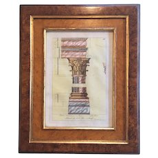 c.1750's Artist  Signed  Watercolor and Pen Giovanni Battista Cipriani England - Italy Lithograph Architecture King George III