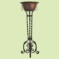 1890-1910 Wrought Iron Plant Stand / Fern Stand Original Copper Bowl -  Gorgeous VICTORIAN