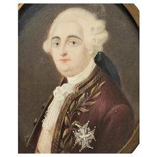 c.1800 France Miniature Portrait King Louis XVI French Revolution Original Frame Marie Antoinette