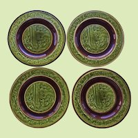 SET-4 Rare Majolica Plate  -- Choisy Le Roi -- H B Cie -- Hautin & Boulenger Made in France 1880-1900 Faience Pottery