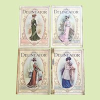 FOUR ISSUES  -  c.1901 The Delineator Magazine Victorian Fashion Prints - Recipes - Patterns - Stories Advertisements  Embroidery ALL COMPLETE