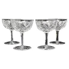 PRICED TO SELL c.1890 Set of 4  Dorflinger Champagne Cut Glass Strawberry Diamond Fan  American Brilliant Period