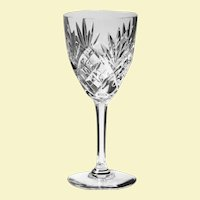 """SIX  c.1960 St. Louis Wine Glass Chantilly Clear Pattern Signed Cut Glass - FRANCE 7"""" x 3"""" - 60 yrs old Burgundy Wine"""