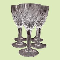 """FIVE c.1960  -- St. Louis Wine Claret Chantilly Clear Pattern Signed Cut Glass - FRANCE 6"""" x 2 1/2"""" - 60 yrs old"""