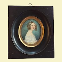c.1830-40 France Signed Miniature Portrait Young Woman King Louis Philippe I French Revolution Original Black Ebony Frame