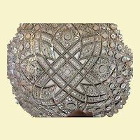 Quite Rare  Victorian Harvard Pattern  c.1890's Cut Glass Bowl 4 1/2 lbs. Museum Quality