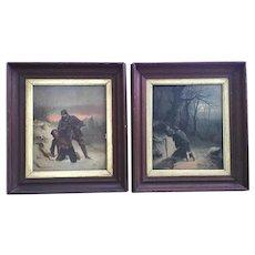 "MATCHING PAIR  c.1870 Chromolithograph Deep Walnut Shadow Box Frame Gold Inset Layer - SIGNED Trapper Hunter Poacher Rabbit 20"" x 16 3/4"" x 2"""