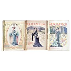 3 Issues - -circa 1901 The Delineator Magazine Victorian Fashion Prints - Recipes - Patterns - Stories Advertisement Embroidery FREE POSTAGE
