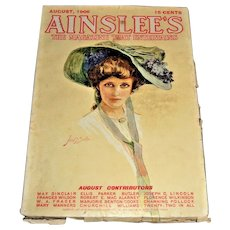 RARE Aug. c.1906  Victorian  Periodical Ainslee's Magazine 192 pgs  Pulp Magazine - All Complete