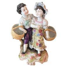 RARE circa 1877-1887 Triebner Ens & Eckert Volkstedt Figurine AUTHENTIC Two Children and Baskets - Blue Mark