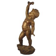 Nicolas Lecorney C.1880 Bronze Sculpture France SIGNED Boy Child