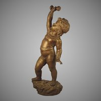 c.1880 Nicolas Lecorney Bronze Sculpture France SIGNED Boy Child