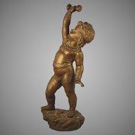 c.1880 Nicolas Lecorney Bronze Sculpture France SIGNED Boy Child
