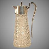 "1880's  RUSSIAN PATTERN  10"" Cut Glass Ewer Pitcher  Silver Plate"