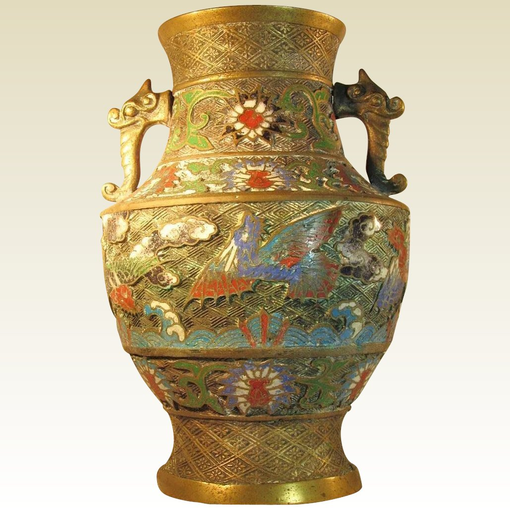 Lg antique japanese champleve bronze brass urn vase double click to expand reviewsmspy