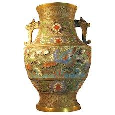 LG Antique Japanese Champleve Bronze / Brass Urn Vase Double Elephant Handle