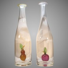 Two Decanter Carafe  Art Glass  Studio Art  Italian