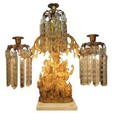 Museum Piece CORNELIUS Daniel Boone Last of the Mohicans  Girandole  1840's Brass Marble Gilt
