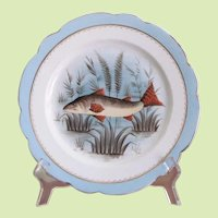 SET-FIVE Limoges Fish Plate 1890's Signed Hand Painted