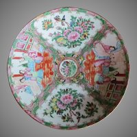 """AUTHENTIC 12"""" 1800's Chinese Rose Medallion Charger Bowl"""
