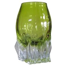 7 lbs. Art Glass Vase Scandinavian SIGNED  Cut Glass  Hand Blown
