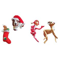 GROUP-FIVE  1957 to 1981 Annalee Reindeer Dog Elf Baby Stocking Mouse CHRISTMAS