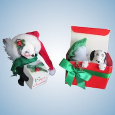 1993 and 1996 Annalee Skunk Annalee Puppy Present Dalmation CHRISTMAS Set-2