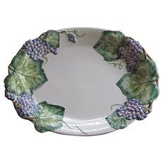 "Vintage Majolica Platter Embossed Raised Relief Italy 20""x15"" Grapes Wine"