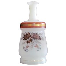 Bohemian Perfume Cologne  Decanter Carafe Bristol Glass  Gilt Enameled VICTORIAN Gorgeous
