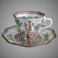 Coalport Co. England The Indian Tree Cup and Saucer c.1891-1920 GREEN MARK