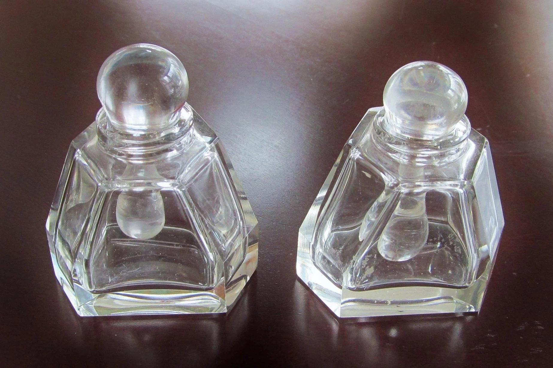 pair cut glass perfume cologne scent bottle vintage glass lovers gallery ruby lane. Black Bedroom Furniture Sets. Home Design Ideas