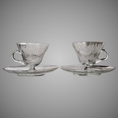 PAIR 1920's Engraved Cup and Saucer Gold Trim BEAUTIFUL