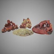 1800's 1900's Chinese Soapstone SET-FOUR